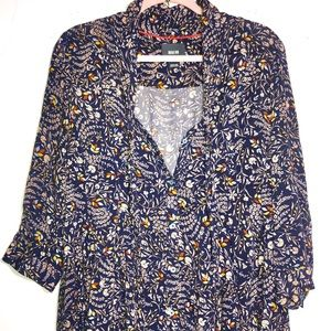 ANTHRO Maeve Navy Floral Print High-Low Blouse | M
